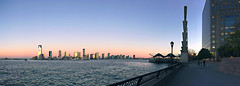 Jersey City from Battery Park (erinpboyle) Tags: panorama jerseycity nyc batterypark skyline dawn