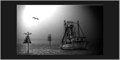 Eerie mist 1 (agphoto100) Tags: sx10is canon boat water sea marker channel fishing trawler mono rigging frame shutterbug vision atmosphere art light mood max ps brisbane queensland