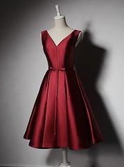 Homecoming dress (maweiyu) Tags: aline vneck homecoming dress homecomg knee length burgundy