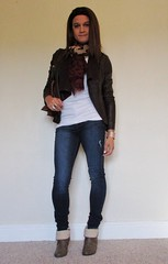 IMG_3211 (kamara881) Tags: crossdresser crossdressing tranvestite trans transgender transisbeautiful transwoman tranny genderqueer genderfluid girlslikeus tgirl androgynous maletofemale mtf femboy kamara lovefashion newlook leatherjacket skinyjeans kneehighboots fashionblogger hrt m2f