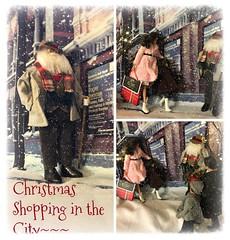 Christmas shopping (Land of Dolls) Tags: christmas shopping city snow santa peoplewalking packages dolls 16thscale diorama fashionroyaltyerin integrity ruruko fashions