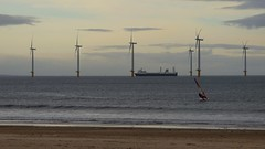 Sails and boats and blades (Martellotower) Tags: ship sea waves wind farm surfer cold grey sand beach