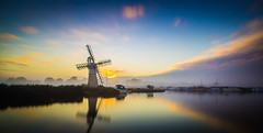 The Norfolk Broads (jammo s) Tags: thurnemill norfolkbroads sky sunrise cloud river riverbure longexposure 10stopfilter panorama pano calm fog foggy windmill canoneos6d canonef24105mmf4lusm lightroom norfolk
