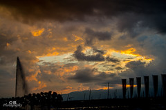 jet d'eau at sunset (Chrisdevillio) Tags: geneva suisse sunset jetdeau switzerland black boats clouds orange geneve genve schweiz ch
