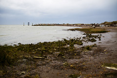 Storm Arriving at Garry Point 5 (LongInt57) Tags: landscape scenic water ocean pacific salishsea georgiastrait garrypoint beach shore rocks sand driftwood pilings blue white brown green park steveston richmond bc canada vancouver