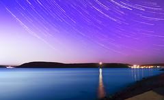 One Starry Night (leighbeta) Tags: stars star starcircle starcircles longexposure composite nightphotography night sunset dusk carmarthen carmarthenshire llansteffan stishmaels stishmael wales sea ocean bay beach sky twilight surf waves lights canon 500d