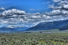 LaMar Valley (Redbird310) Tags: mountainrange mountains snowcaps hdr nature clouds blue green sky landscape peaks hills wyoming nationalpark yellowstone