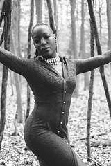 Portrait of Kayla Rae in woods of Alley Pond Park (L A Nolan) Tags: 35mm 35mmf2 50mmequiv alleypondpark autumn bw blackandwhite fall fuji fujifilm fujifilmxpro2 fujinon fujinonxf35mmf2 monochrome newyork newyorkcity newyorknewyork ny nyc outsidemday park people queens thebigapple trees woman woods xpro2