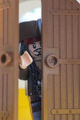 Avast, avast, who's there? (tomtommilton) Tags: door macro film movie jack photo lego fort pirates photograph sparrow pirate captain legos movies caribbean minifig minifigs supermacro knock minifigure minifigures