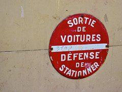 Sortie de Voitures, Paris, France (Robby Virus) Tags: city red paris france car sign warning french no garage noparking parking driveway sortie exit defense parisian voitures francais cityoflights stationner