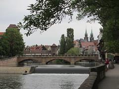 Pegnitz River weir and Maxbrcke, Nuremberg, Germany (Paul McClure DC) Tags: architecture river germany bayern deutschland bavaria scenery nuremberg franconia historic franken nrnberg pegnitz may2015