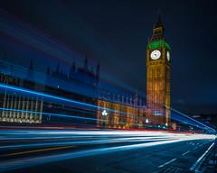 Big Ben By Night (Darren Berg) Tags: england london westminster thames bigben lighttrail