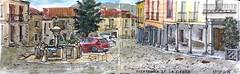 Villafranca de la Sierra (P.Barahona) Tags: plaza fuente pluma acuarela soportales pilón urbansketchers