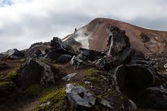 Obsidian, Felsformationen (vulkanisches Glas) - Wanderung nach Hrafntinnusker, Laugavegur - Trekking auf Island