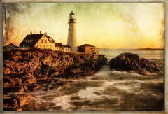 Vintage Portland (NYRBlue94) Tags: ocean new light england lighthouse vintage portland coast maine atlantic hdr
