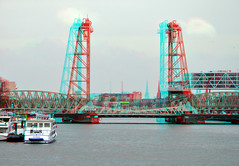 Koningshaven Rotterdam 3D (wim hoppenbrouwers) Tags: 3d rotterdam anaglyph stereo dehef hefbrug redcyan koningshaven