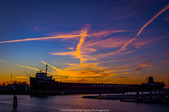 The Steamship William G. Mather (jomak14) Tags: canoneos1ds cleveland daytimelongexposure fullframe kenkond8filter lakeerie lakefront ohio tokinaaf1935mmf3545 clouds sunset marina condensationtrails contrails