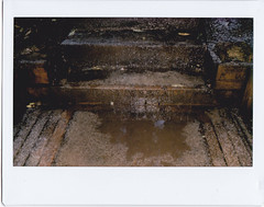 Hail or ice pellets on the steps (Matthew Paul Argall) Tags: instax instax210 instaxwide fujifilm steps stairs rubbermat hail icepellets