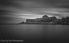 With time all shall pass. (Lens Cap Tim Photography) Tags: sheddaquarium adlerplanetarium ir infrared city windy clouds landscape blackandwhite monochrome hoya nikon movement water time lakefront lake chicago