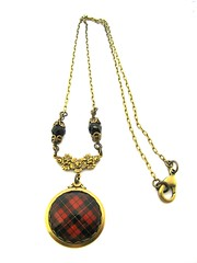 Ancient Romance Series - Scottish and Irish Tartans Collection - Wallace Clan Tartan Rose Fob Necklace with Onyx Black Czech Glass Stations