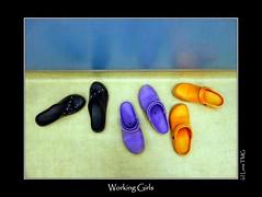 Working Girls / Les Travailleuses (Luna TMG) Tags: shoe chaussure worker travailleur bright brillant blue bleu yellow purple violet black noir