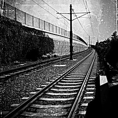 Last train to wherever your dreams take you (Dom Guillochon) Tags: noiretblanc time life transportation travel moving earth humans people railroad train destination destiny existence reality dream