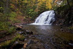 autumn, robertson creek waterfall (twurdemann) Tags: algomahighlands autumn canada cascade detailextractor fall2016 fallcolor fallcolour forest fujixt1 glamourglow goulaisriver landscape nikcolorefex northernontario ontario rain ravine reflectorefex robertsoncreek stream tonalcontrast trees vankoughnettownship viveza water waterfall weather xf14mm