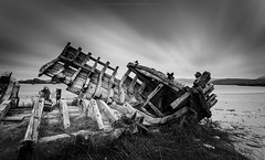 And she just lies there, her back broken... (Premysl Fojtu) Tags: boat shipwreck wreck wooden longexposure daytime ndfilter 1000x landscape dramatic canon 5dmkii ef1740 wideangle fullframe seascape