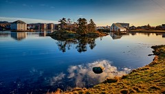 Vibrandsy, Haugesund - Norway (Vest der ute) Tags: xt2 norway rogaland haugesund seascape seaside sea water reflections mirror trees houses boathouse rock clouds sky fav25