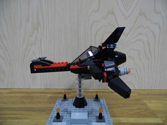 Vespertilio - The BatViper Unedited (Harding Co.) Tags: lego space scifi spaceship flying wings cockpit batman black red grey engines vehicle viper vv nnovvember minifigure minifigscale base stand