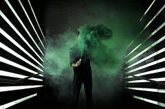Smoke bomb (visually_conscious) Tags: smoke moody lights symmetry symmetrical green guy urban color