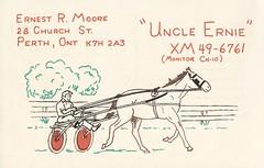 Uncle Ernie - Perth, Ontario (73sand88s by Cardboard America) Tags: qsl qslcard vintage cbradio cb chariot horse ontario
