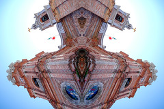 040POv (Symic) Tags: port vallarta mexico andréswilliamolsenrodriguez symmetry relect mirror double lighten repeat animism face beast monster sad alien brick church stained glass window steeple tower ancient old mexican flag bells cross eyes happy