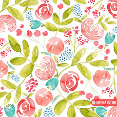 Flower Bouquet (hangtightstudio) Tags: design designer watercolor watercolorpainting watercolorfloral surfacedesign surfacepattern patterndesign textiledesign fabricdesign floral floralprint floralpattern heatherdutton hangtightstudio create dowhatyoulove flowers