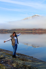 G at Loch Linnhe (Scotty Slates) Tags: uk morning blue autumn winter sky mountain lake snow water girl canon reflections pose fun mirror scotland highlands still britain great scottish peak gemma glen clear highland loch dslr gem linnhe 650d