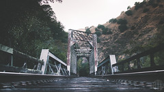 Railroad Bridge (Khoazy City) Tags: california road bridge trees abandoned film look lines metal forest train way landscape other nice sand woods scenery track day grafitti with angle cloudy no secret tag low think tracks rail tags can any filter trespass middle passage tagging ghetto leading towards beams gravel ohhh ig sunol i instagram