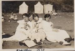 Girls on the Beach 1920 (Bury Gardener) Tags: 1920s girls blackandwhite bw beach girl female vintage isleofwight oldies 1920 shanklin