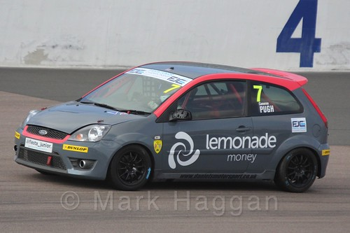 Cameron Pugh in Race 1 at the BRSCC Fiesta Junior Championship, Rockingham, Sept 2015