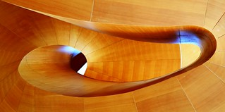 Looking up at the spiral staircase in Art Gallery of Ontario