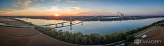 Pano - Natcher Bridge at Sunset (AP Imagery) Tags: bridge sunset panorama usa kentucky ky pano aerial ohioriver rockport maceo p3p natcherbridge lewisport