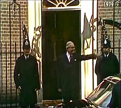 4th May 1979. Defeated Ex British Prime Minister, James Callaghan M.P. Leaves No 10, Downing Street For Buckingham Palace To Offer His Resignation To H.M. The Queen. (sgterniebilko) Tags: street uk london westminster station 60s 10 no politics ad police delta row cannon mp alpha metropolitan 1965 sw1 1960 londonpolice downing mps britishpolitics policelondon jamescallaghanmp
