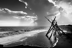 Off-Season (Jens J. Hoffmann) Tags: wood sea urban bw france beach landscape nikon mood d750 sw languedoc blackwhitephotos