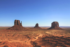 mittens and a butte (The Bexxx) Tags: blue red vacation arizona sky usa landscape utah october desert roadtrip monumentvalley southwestamerica