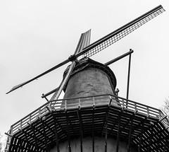 """Dutch mill """"Het Fortuin"""" (The Fortune), Arnhem (ParadoX_Design) Tags: blackandwhite bw holland mill netherlands windmill museum architecture industrial zwartwit arnhem working nederland fortune het molen hollands openlucht windmolen typically zw typisch fortuin stellingmolen korenmolen pelmolen hollandsch"""