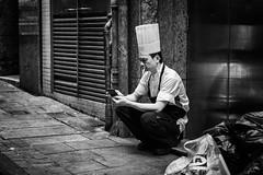 (Hong Kong Eye) Tags: people blackandwhite monochrome hongkong break candid streetphotography monotone smoking chef mobilephone garyjones blackandwhitephotos dec2015 nikoncorporationnikond800