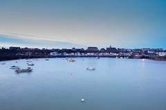 L'heure bleue (flo74.) Tags: blue sea mer water port harbor eau ship harbour granville bateaux bleu normandie bluehour lheurebleue