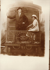 Couple on Back of RR Car, 8-26-1929