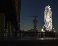 The observation tower and the wheel. (Guido Speekenbrink) Tags: wheel pier netherlands scheveningen holland reuzenrad night dark coast landscape hague beach outdoor outside