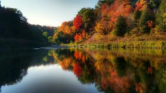 October reflection (ossington) Tags: reflection mapleleaves creek still calm fall autumn bliss vista landscape seasonal canada toronto scarborough