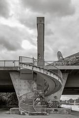 Offenbach (Christian Hoemke) Tags: bridge brcke canonefs24mmf28stm canoneos1000d deutschland germany hessen lightroom6 monochrome offenbach stairs treppe wendeltreppe kaiserlei graffiti offenbachammain de
